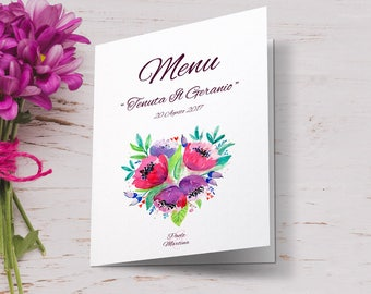 Floral wedding menu in shades of purple. Combined with calls for equal. Printing wedding menus.