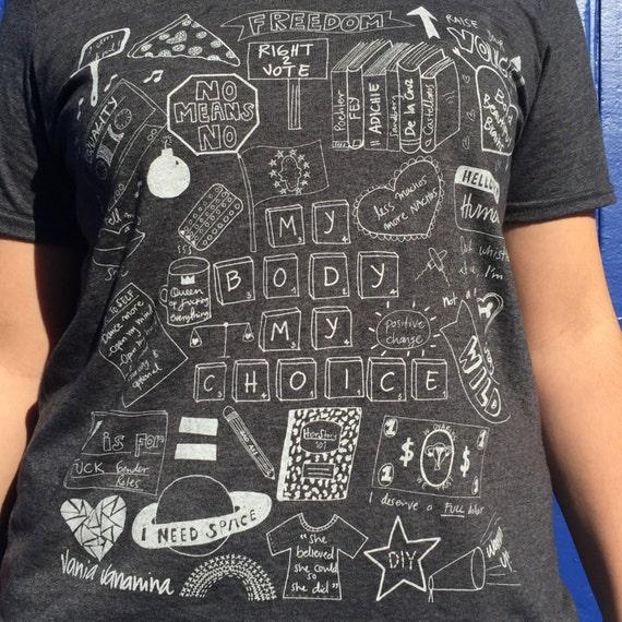 My Body My Choice Feminist Doodle Illustration T-shirt Original Artwork By Vania Vananina HLONlRqry3