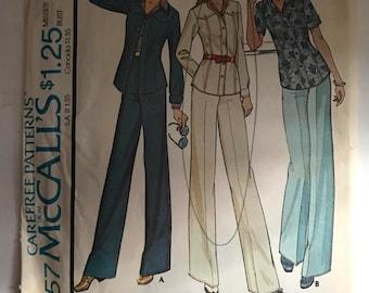 Vintage 70s McCall's 4457 Shirt Jacket and Pants Pattern Size 10 Uncut