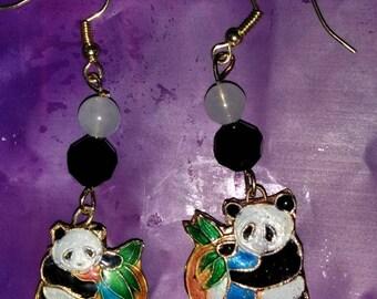 Panda Bear Cloisonne Earrings