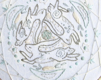 DIY Three Hares moon mandala dream catcher Embroidery Pattern PDF download celtic hand embroidery patterns designs