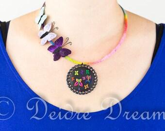 Rainbow Butterfly Necklace, Butterfly Pendant, Polymer Clay Butterfly, Rainbow Necklace, Rainbow Jewelry, Hippie Necklace, Boho Necklace