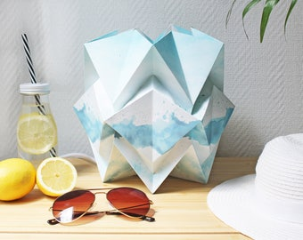 Table lamp Summer Collection | Original drawings and watercolor by creator of BellySketcher, Inês Pargana | Origami handmade lamp