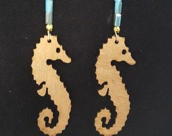 Sale!!!  Seahorses - Handmade REVERSIBLE Two-toned Wood Earrings w/ Fine Turquoise Iridescent Beading