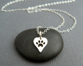 tiny silver pawprint heart necklace. small sterling pet pride pendant. pet charm. simple paw print dog cat jewelry. gift for animal lover