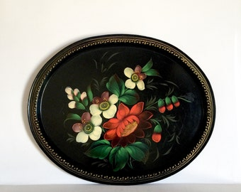 Vintage Tole Tray - Oval Floral Tray - Hand Painted Floral Tray - Flowers on Black with gold Border
