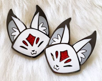 Queenie Floral Frolic Fox Kitsune Enamel Lapel Pin