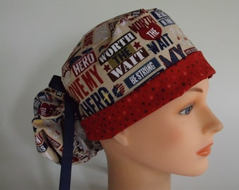 My Hero Ponytail - Womens surgical scrub cap, scrub hat, nurse surgical hat, 82/82-8060ow