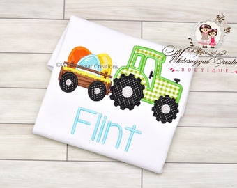 Easter Trailer with Eggs Shirt - Custom Easter Truck Shirt - Boys Easter Shirt - Personalized - Embroidered - Baby Applique - Monogram