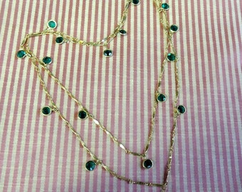 44 Inch Long, 10K Gold Filled, Fancy Bar Chain, Bezel Wrapped, Green Faceted Glass - REDuCED