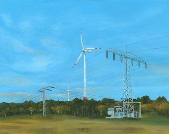 Wind turbine, acrylic painting