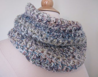 Cozy Cream and Pastel Crochet Infinity Scarf, Vegan Friendly