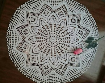 """Pineapple tablecloth 26"""" white"""
