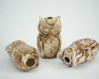 Vintage Ceramic Owls from Macrame Set of 3