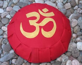 Zafu Meditation Cushion Pillow OM red