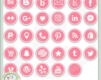 Social Media Icons ROUND PINK