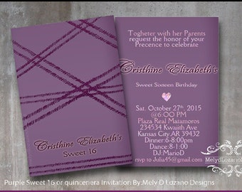 Purple Sweet 16/ quincenera Invitation