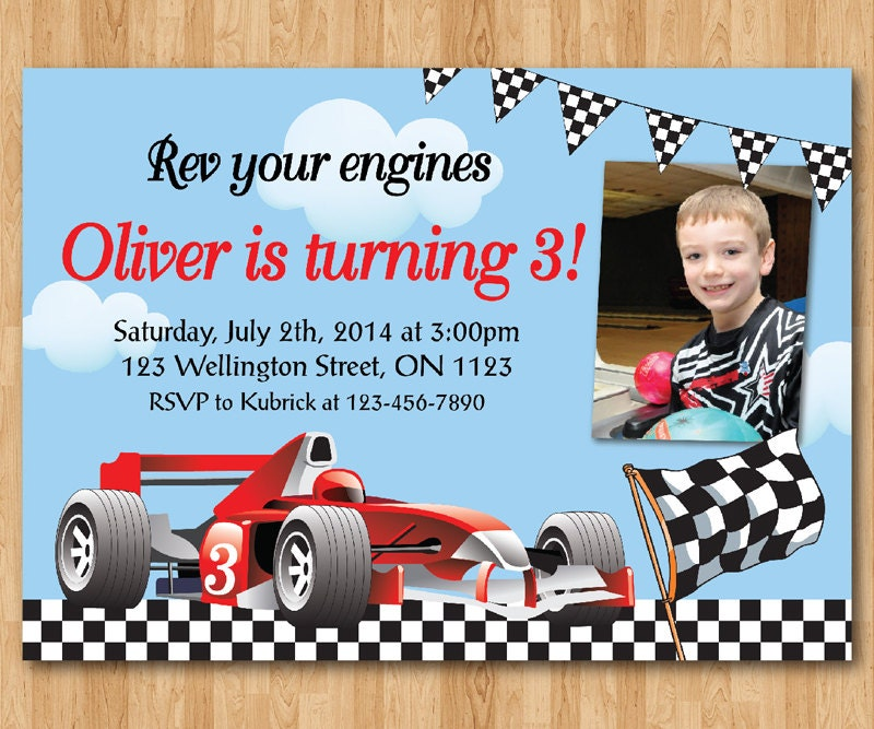 Race Car Birthday Invitation. Boy Racing Car birthday party