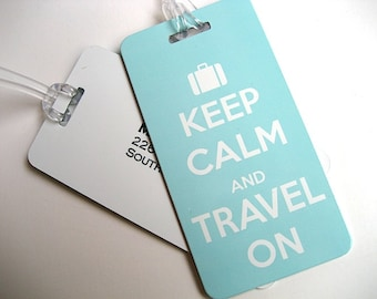 Luggage Tag - 4-Pack - Light Blue Keep Calm and Travel On Luggage Tag - Travel Accessories