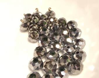 8mm Silver Metallic Faceted Rondelle Crystals  32pc
