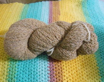 Beige/Tan  - Wool/Cashmere/Angora Blend - 2171 yards - Lace weight - Recycled, Reclaimed, Upcycled