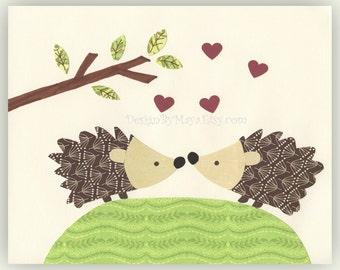 Nursery Art Decor Kids Print Animals...The Hedgehogs are in Love