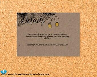 Wedding Template, Instant Download, DIY details, enclosure card, Editable PDF, Printable, Kraft Mason Jar and Fireflies #1CM77-2