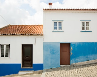 Portugal Travel Photography Print - Blue and White Minimalist Art Print - Large Format Wall Art - Portugal Gift - Portuguese Home Decor
