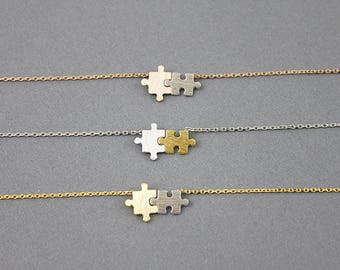 Simple puzzle necklace Puzzle Charm Necklace Dainty and Simple Necklace Birthday Gift