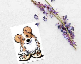 ACEO Original Art BORDER COLLIE Dog Funny Sheep Slippers