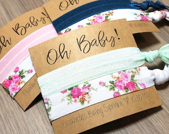 Oh Baby! Baby Shower Hair Tie Favors | Baby Sprinkle Hair Tie Favors | Girl Baby Shower Favors | Garden Party | Baby Shower Favors + Gifts