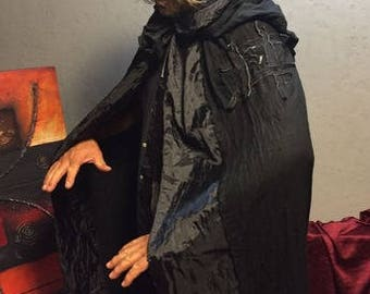 Hooded Cloak, Black Cloak, Black Hooded Cape, Long Hooded Cloak, Medieval Cloak, Cloak with Hood, Cloaks and Capes, Halloween Devil Costume