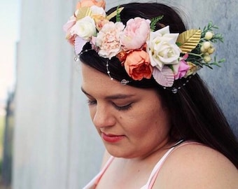 adjustable adult flower crown. photography prop. baby shower. bridal flower crown. boho bohemian hair accessory.