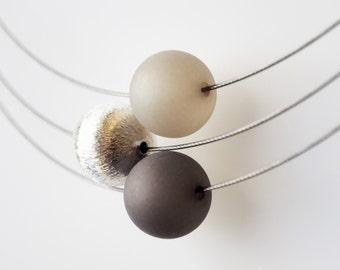 gray necklace anthracite wisilva silver pearl polaris necklace