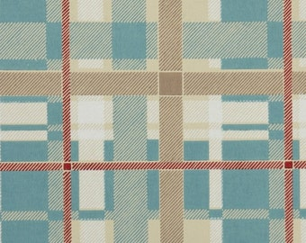 1950s Vintage Wallpaper by the Yard - Plaid Vintage Wallpaper of Blue Tan Red and White