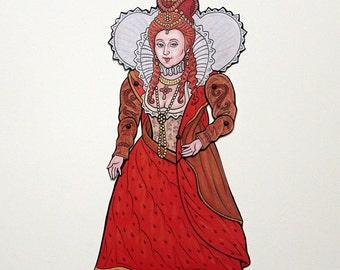 Elizabeth I Queen Articulated Paper Doll,