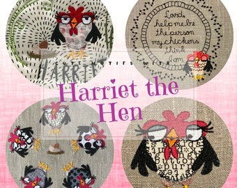 Harriet the Hen - 4 cute, Whimsical Machine Embroidery designs with my little Darling Hen Harriet, a mix of appliqué and embroidery