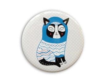 Cute cat Pocket Mirror - kawaii cat - stocking filler - crazy cat lady - cat illustration - cute cat - cat gifts - cats - kittens -