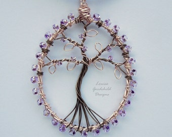 Tree of life pendant. lilac, rose gold, MADE TO ORDER, small tree necklace, lilac tree, wire wrapped, nature lover gift, tree of life, wire
