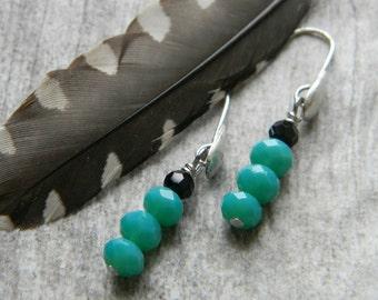 Petite dangle earrings turquoise glass and black earrings beaded earrings beaded jewelry stacked earrings minimal jewelry carolina panthers