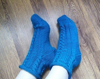 Blue knitted socks Womens hand knit socks Blue boot socks Hand knitted boot socks Casual womens socks Blue home socks Handmade wool socks