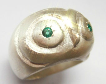 Owl Ring Wisdom and Luck Sterling Silver with emeralds