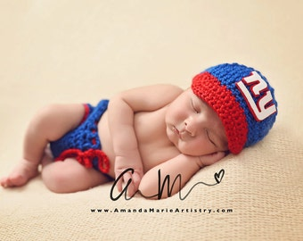 Baby Boy New York Giants Football  Cap, Diaper Cover --Baby Football outfit-- crochet baby shower gift--Baby Newborn Photo Prop