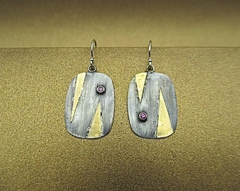 Silver and 24K gold pink sapphire earrings
