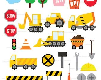 Construction Clipart,Truck Clipart,Diggers,Crane,Bulldozer,Transportation,vehicle,hammer,Vector,Instant download Illustration_CA15