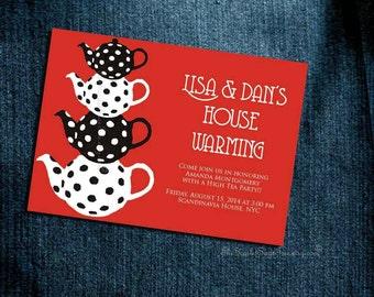 Baby Shower Invitation HIGH TEA Bridal Shower Birthday Party Housewarming Printable / Printed Teapot Custom Color New Idea English Australia