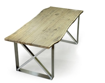 live edge dining table, Tisch Live-Edge, light oak dining table