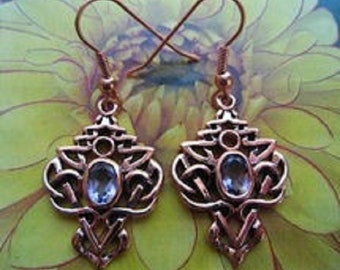 Solid Copper Celtic Knot Earrings #CTE593 1 1/4 inches long. CZ Amethyst stones.