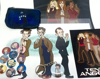 Doctor Who Stocking Stuffer Gift Pack Buttons Pouch Keychain Prints