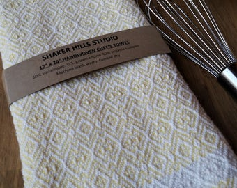 Yellow Kitchen Towel Large Rustic Twill Organic Cotton